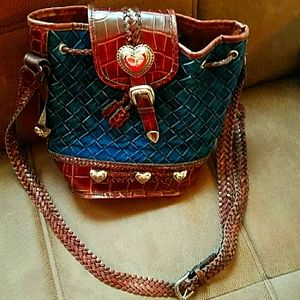 Brown leather and blue denim bucket bag w hearts